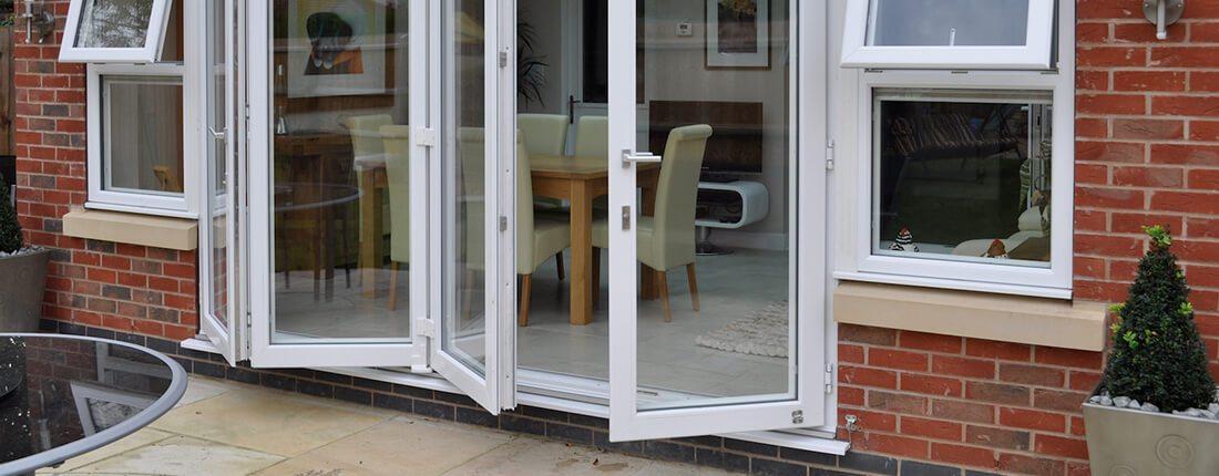 white upvc bifold doors