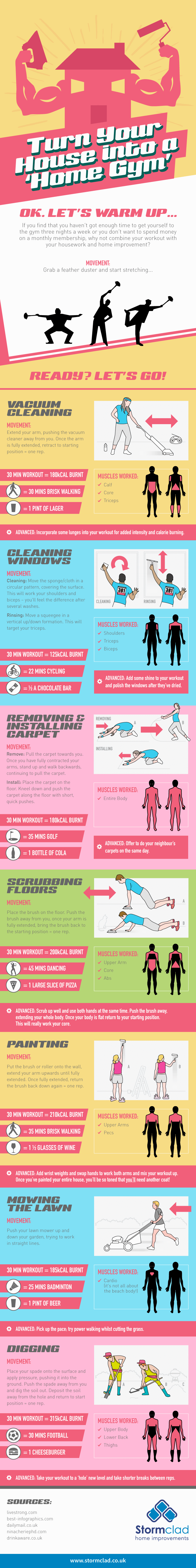 TURN YOUR HOUSE INTO A 'HOME GYM' infographic