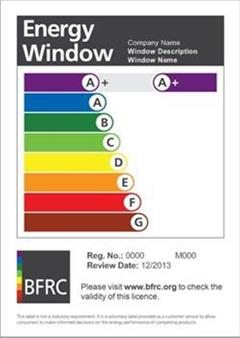 BFRC a+ energy window licence sheet.