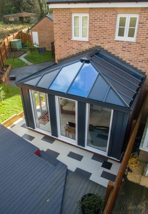 Grey LivinROOF conservatory aerial view.
