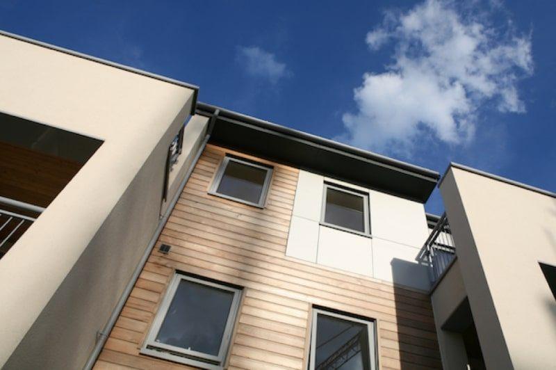 Grey aluminum windows on modern building.