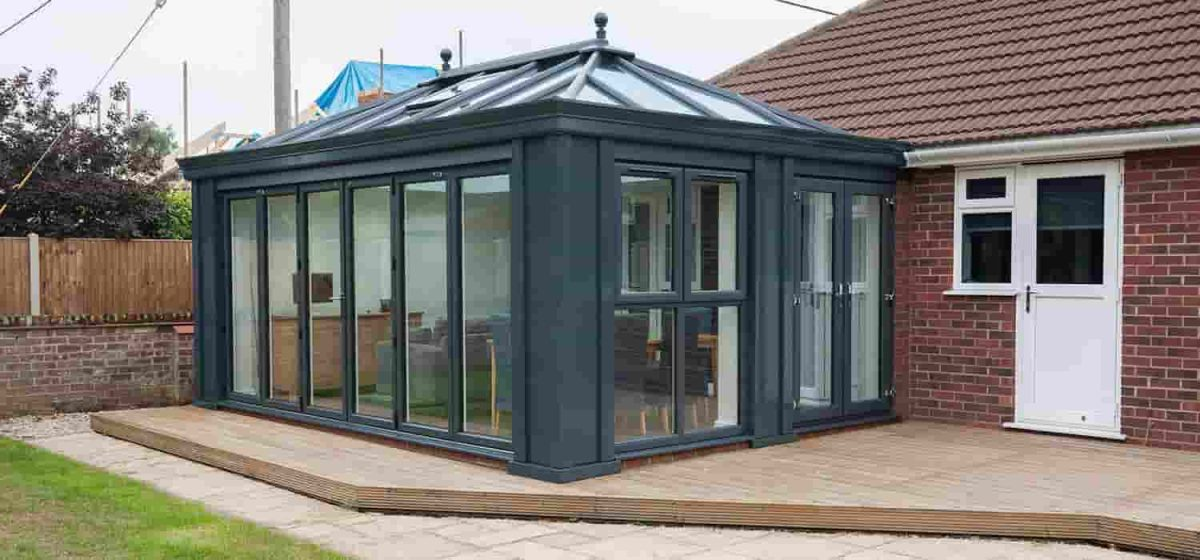 Outside a Black aluminium conservatory in Leicestershire.