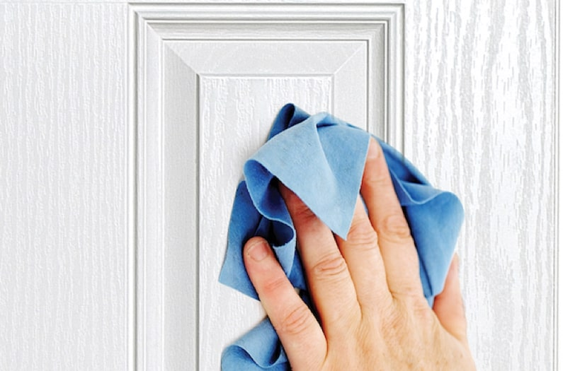 Cleaning a white door