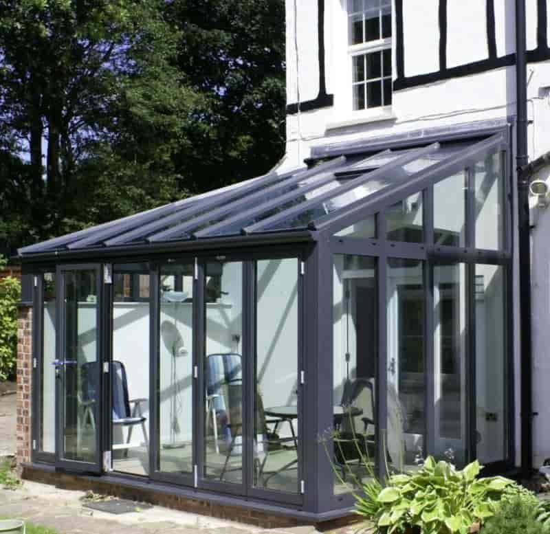 a black Upvc conservatory.