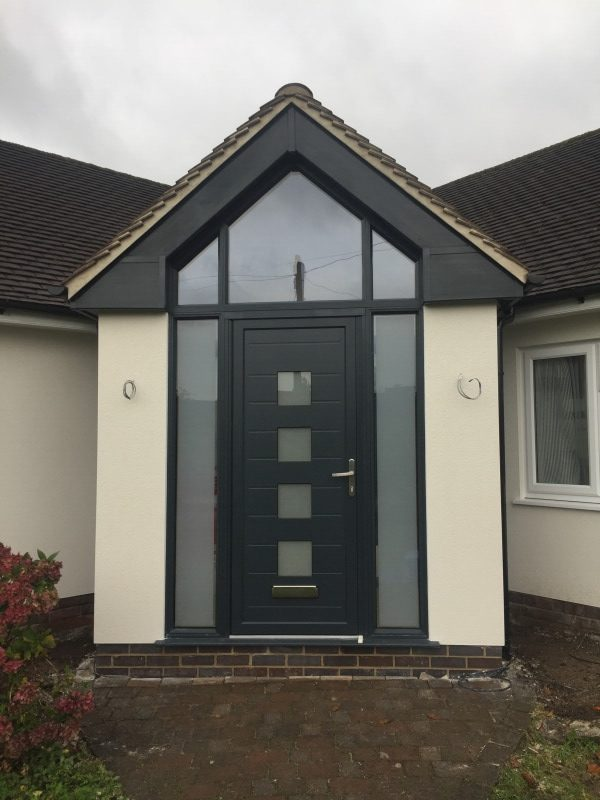 A black Chic front door & porch replacement in West Bridgford, Nottinghamshire.