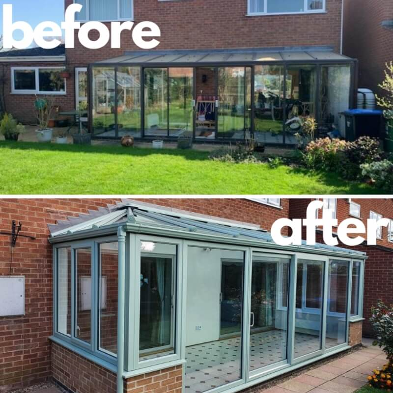 Before and after conservatory replacement.