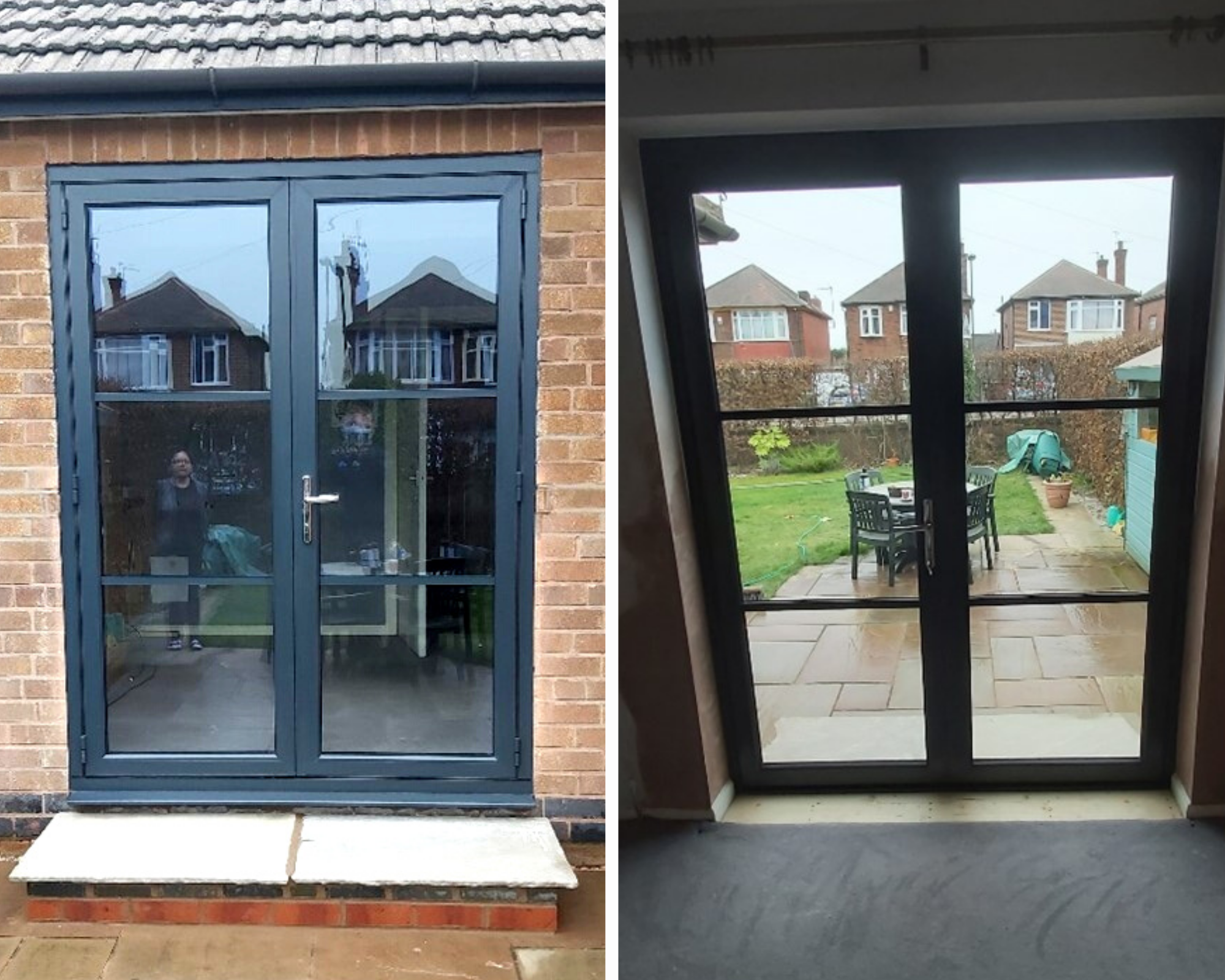 Inside and outside a black patio door.
